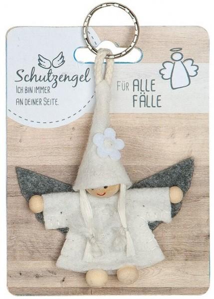 """Gilde Schlüsselanhänger Schutzengel aus Filz """"Für alle Fälle"""" Weiß"""