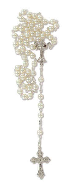 Rosenkranz mit Kunststoffperle gekettelt ca. 36 cm Weiß