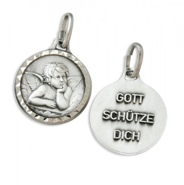"""Kettenanhänger """"Schutzengel Gott schütze dich"""" Oxydiert 1,2 cm"""