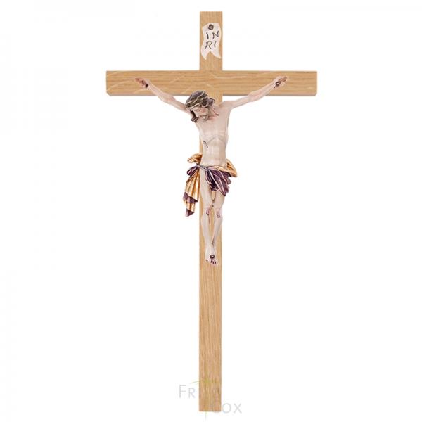Holzkreuz aus Eiche mit Romalith-Körper rot 18 cm