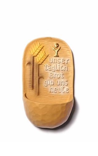 """Kunstharz-Weihwasserkessel """"Unser täglich Brot"""" Coloriert ca. 13 cm"""