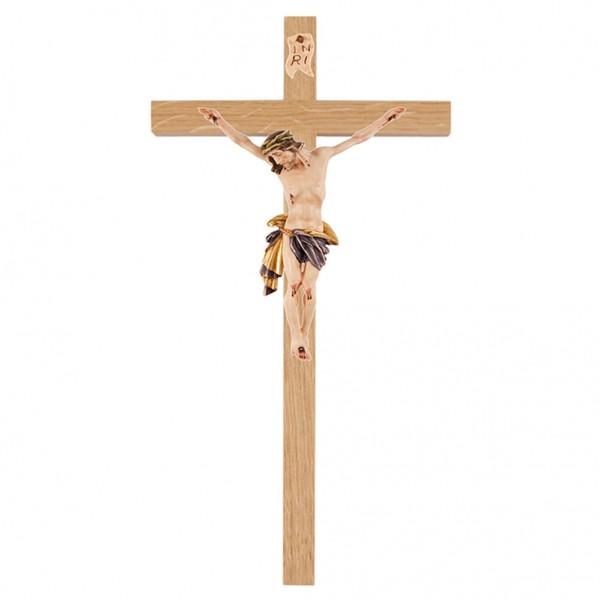 Holzkreuz aus Eiche mit Romalith-Körper blau 18 cm