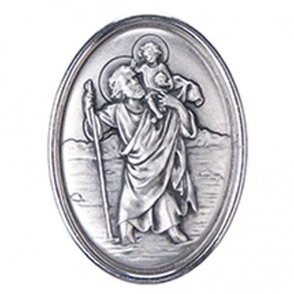 Autoplakette mit Christophorus-Motiv, oval