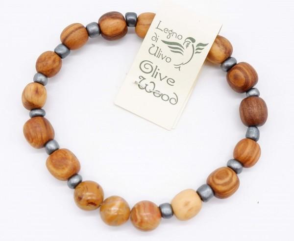 Armband mit Olivenholzperlen und hochwertigen Stein Erdfarben