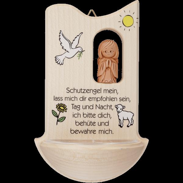 Kinder-Weihwasserkessel mit Ton-Schutzengel Ahorn ca. 14 cm