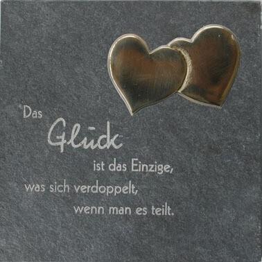 "Schiefer-Relief ""Doppeltes Glück"" Grau 14,5 x 14,5 cm"