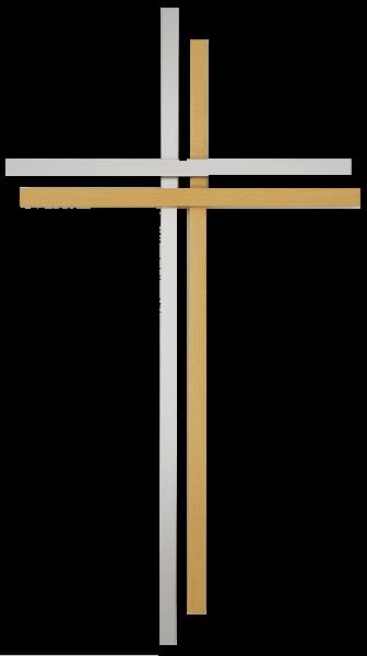 Kreuz aus Aluminium und Ahorn 38 cm
