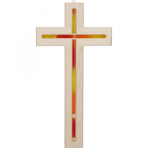 Holzkreuz Ahorn mit Fräsung und Glaseinlage orange 30 cm