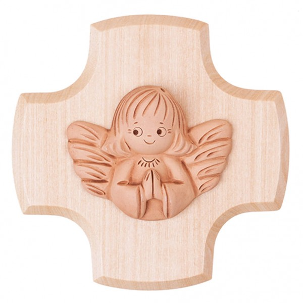 Kinderkreuz mit betendem Tonengel Ahorn Natur 9 x 9 cm