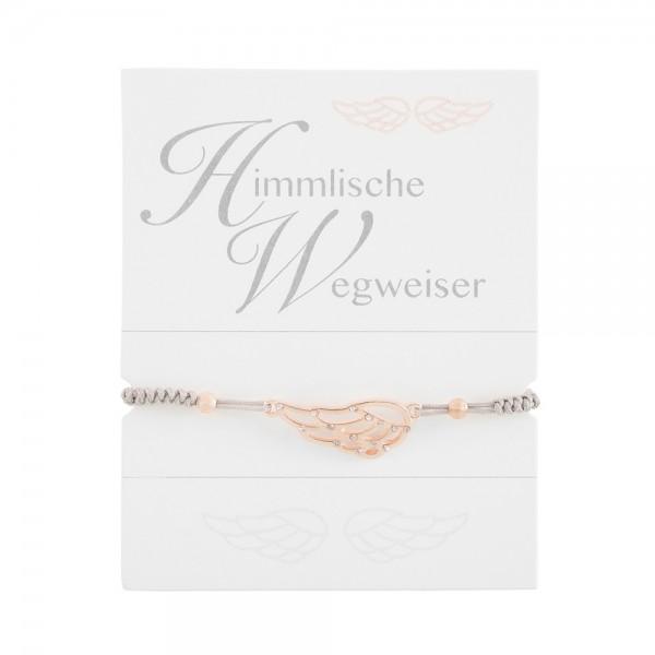 """Geknüpftes Armband """"Engelsflügel"""" mit Strasssteinen und Perlen"""