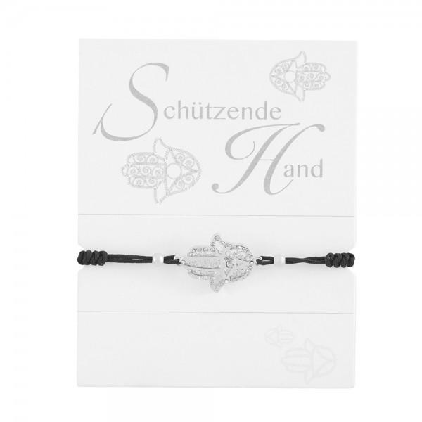 """Geknüpftes Armband """"Schützende Hand"""" mit Strasssteinen und Perlen"""