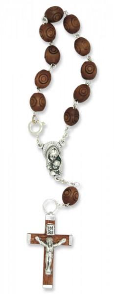 Zehner-Rosenkranz mit Holzperlen in Rosenform Braun