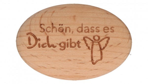"""Handschmeichler """"Schön dass es dich gibt"""" Buchenholz 4,5 x 3 cm"""