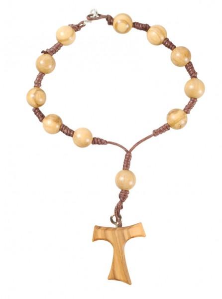 Zehner-Rosenkranz aus Olivenholz mit Tau-Kreuz und Federring
