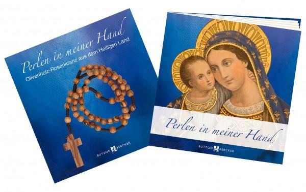"""Geschenkset """"Perlen in meiner Hand"""" inkl. Olivenholz-Rosenkranz aus dem Heiligen Land"""
