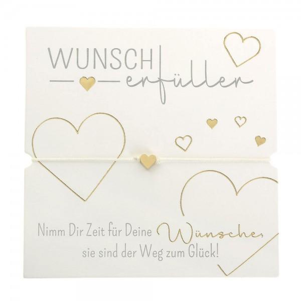 Armband-Wunscherfüller Herz vergoldet Band weiß