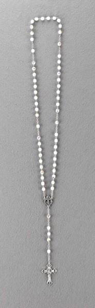 Rosenkranz mit Glasschliffperle gekettelt ca. 39 cm Weiß