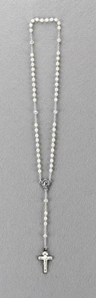 Rosenkranz mit Wachsperle gekettelt ca. 31 cm Weiß