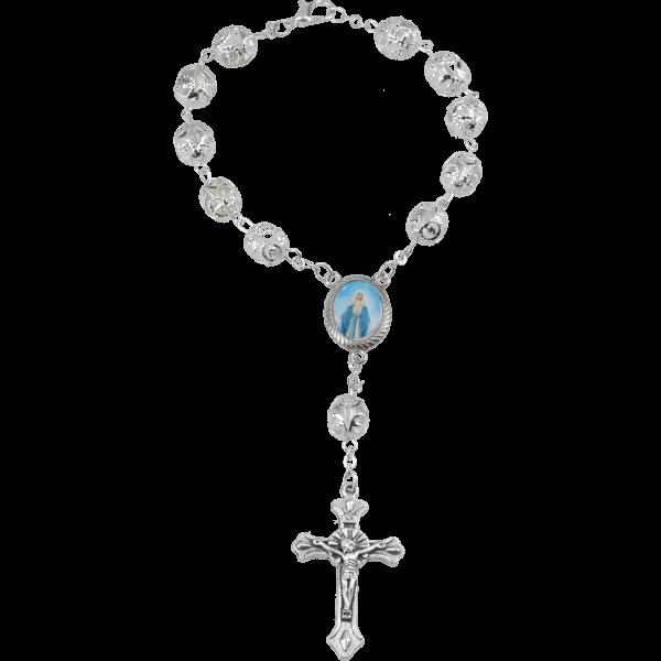 Zehner-Rosenkranz Alpacca mit Glasperle und Verschluss Weiß