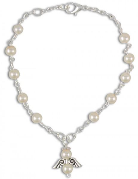 Rosenkranz-Armband Weiß mit Schutzengel