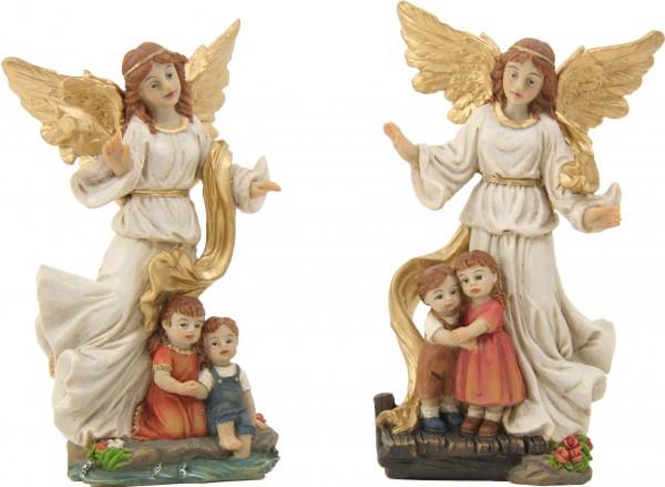"""Schutzengelfigur """"Schützender Engel mit Kindern"""" 12 cm"""