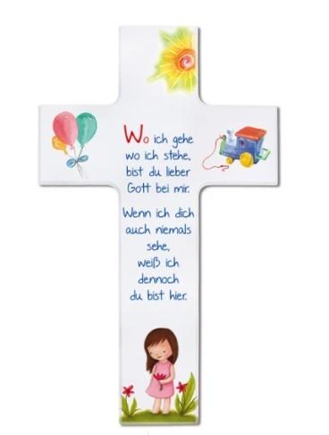 """Kinderkreuz """"Wo ich gehe, wo ich stehe"""" Mädchen Weiß 20 cm"""