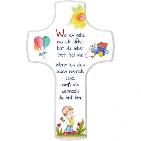 """Kinderkreuz """"Wo ich gehe, wo ich stehe"""" Junge Weiß 18 x 11,5 cm"""
