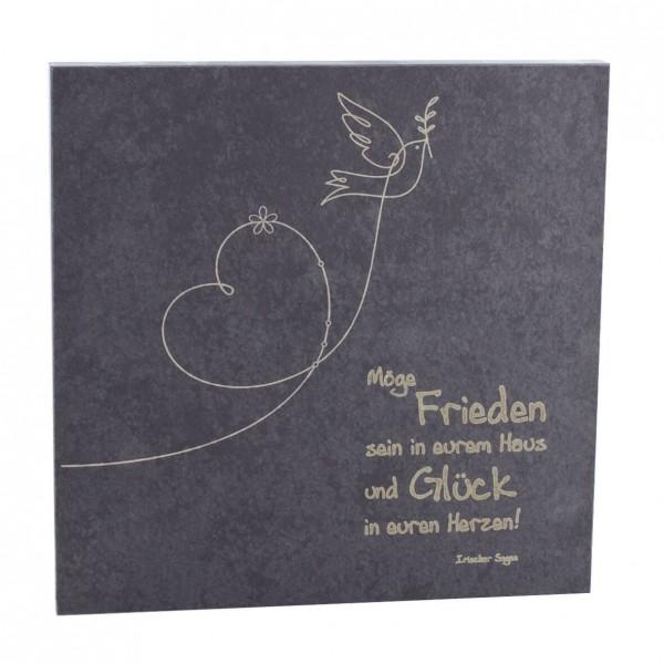 """Schiefer-Haussegen """"Möge Frieden sein in eurem Haus"""" Grau 14,5 x 14,5 cm"""