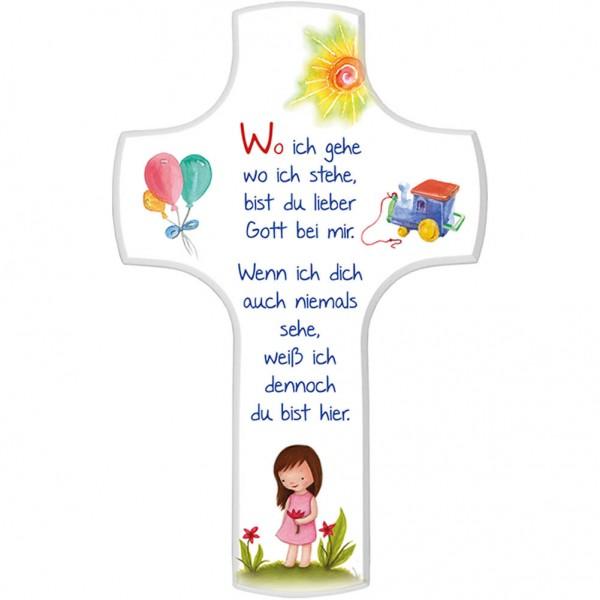 """Kinderkreuz """"Wo ich gehe, wo ich stehe"""" Mädchen Weiß 18 x 11,5 cm"""
