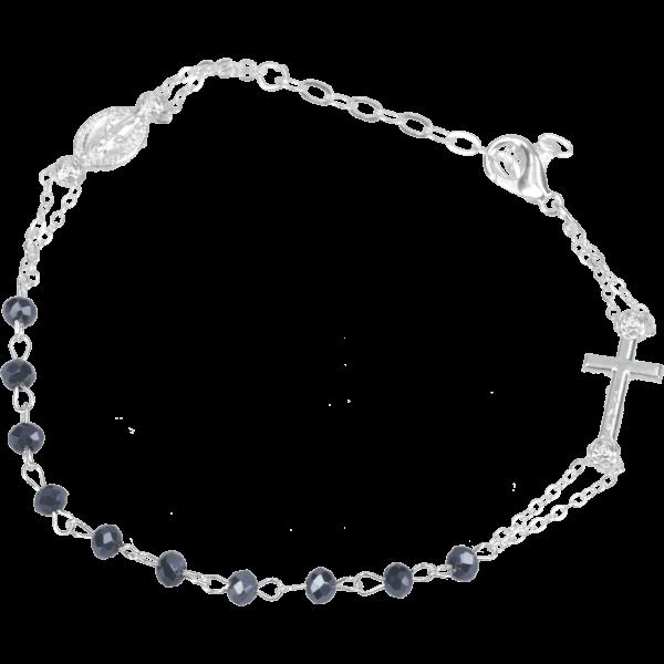 Rosenkranz-Armband mit Verschluss Dunkelblau