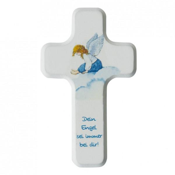 "Kinderkreuz ""Dein Engel sei immer bei dir"" Buche Weiß farbig bedruckt 11 x 7 cm"