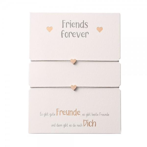 Freundschaftsarmband Herz rosévergoldet Band grau