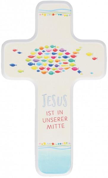 """Kinderkreuz """"Jesus ist in unserer Mitte"""" Buche Weiß farbig bedruckt 18 x 11 cm"""