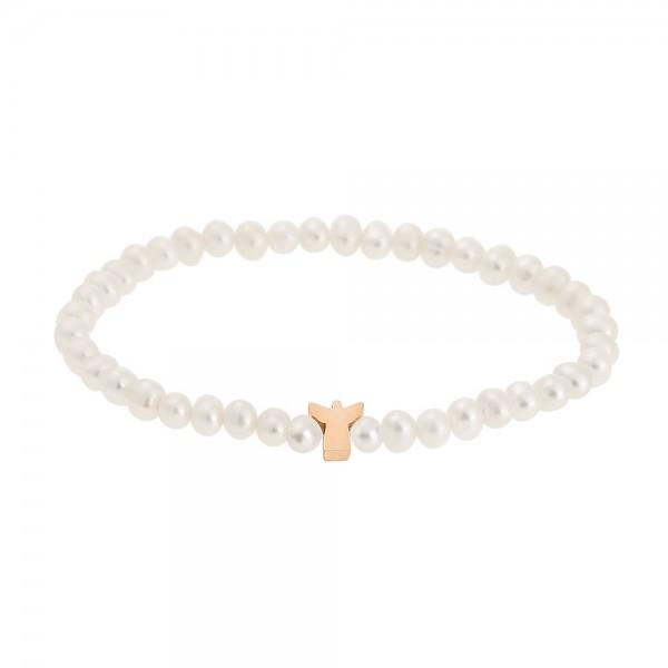 Perlenarmband mit Schutzengel rosévergoldet