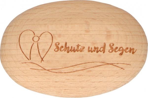 """Handschmeichler """"Schutz und Segen"""" Buchenholz 6 x 4 cm"""