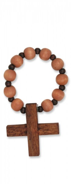 Gebetsring aus hellbraunem Holz, dehnbar