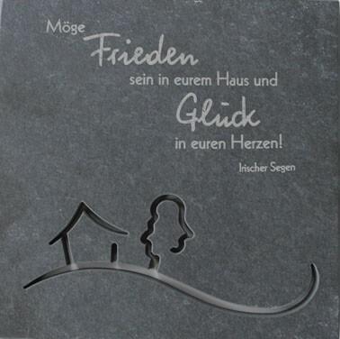 """Schiefer-Haussegen """"Möge Frieden sein in eurem Haus"""" Motiv durchbrochen Grau 14,5 x 14,5 cm"""