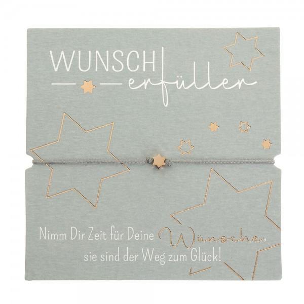 Armband-Wunscherfüller Stern rosévergoldet Band grau