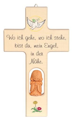 """Kinderkreuz mit Schutzengel """"Wo ich gehe, wo ich stehe"""" Ahorn Natur 20 x 12 cm"""