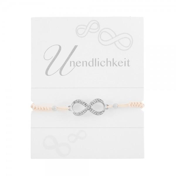"""Geknüpftes Armband """"Unendlichkeit"""" mit Strasssteinen und Perlen"""