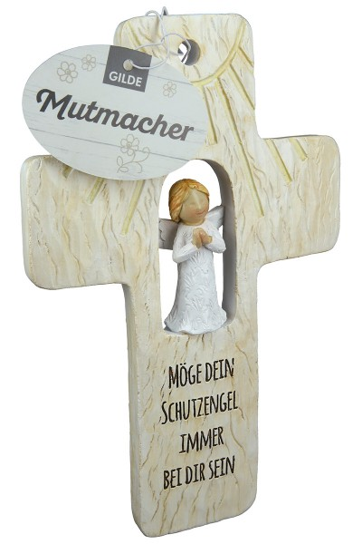 "GILDE Schutzengelkreuz ""Mutmacher"" Polyresin Grün Braun 18 x 11,5 cm"