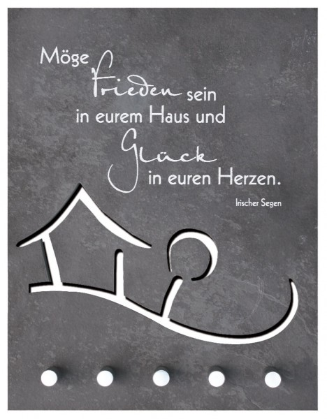 "Schlüsselbrett ""Irischer Segen"" Schiefer Grau 27 x 21 cm"
