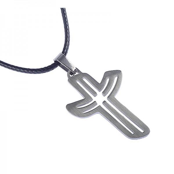 Halskette mit geschwungenem Kreuzanhänger aus Edelstahl und Baumwollband