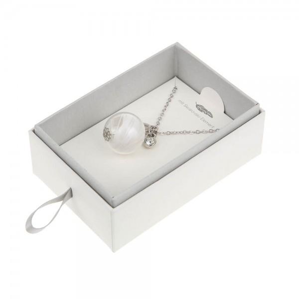 Halskette lang mit Engelsfeder Silber