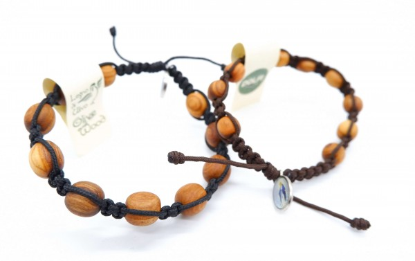 Armband mit zehn Olivenholzperlen
