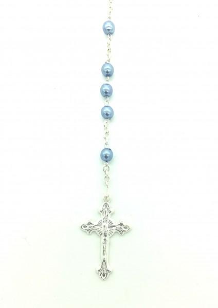 Rosenkranz mit Wachsperle gekettelt ca. 38 cm Hellblau