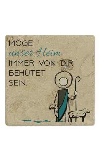 """Naturstein-Haussegen """"Möge unser Heim..."""" 10 x 10 cm"""