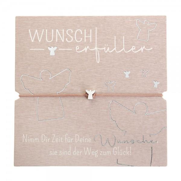 Armband-Wunscherfüller Schutzengel feinversilbert Band altrose
