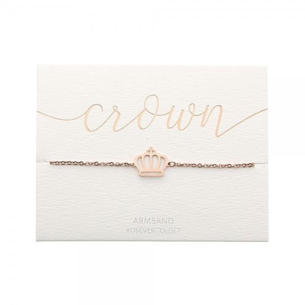 Edelstahlarmband Krone rosévergoldet