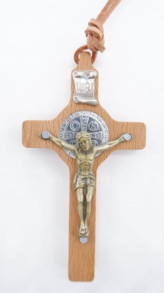 Halskette mit Benediktuskreuz und Lederband 60cm